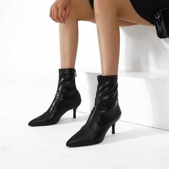 Fashion Girls Pointed Toe Stiletto Heel Zipper Closure Mid Calf Boots