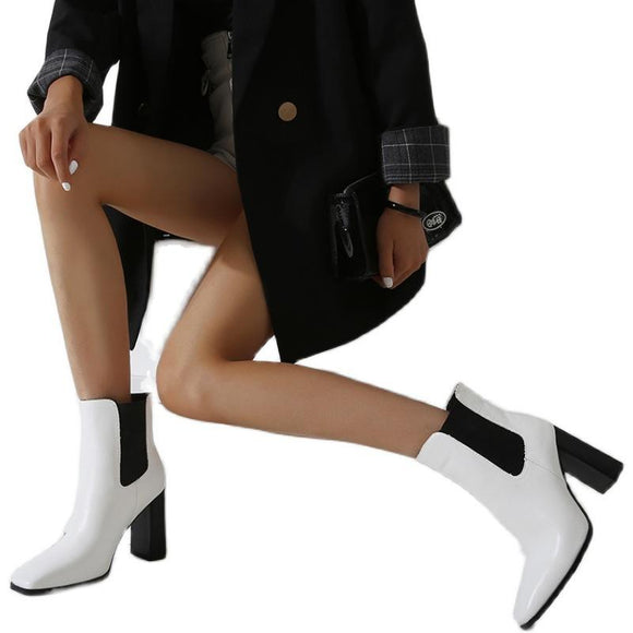 Fashion Elastic Pointed Toe Chunky High Heel Mid Calf Boots Martin Boots For Girls