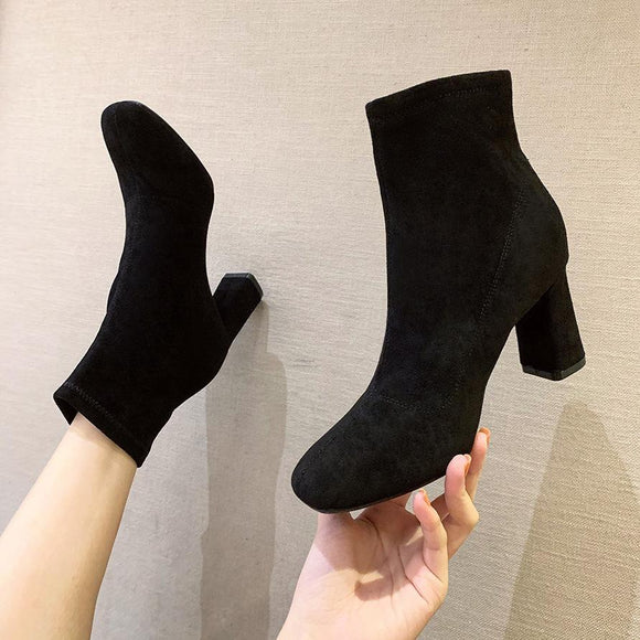 Fashion Suede Round Toe Chunky Heel Ankle Boots with Zipper