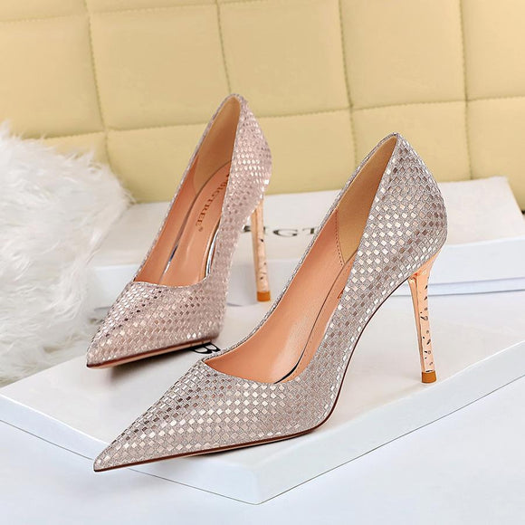 Fashion Sequin Fabric Pointed Toe Stiletto Heel Bridal Pumps For Women