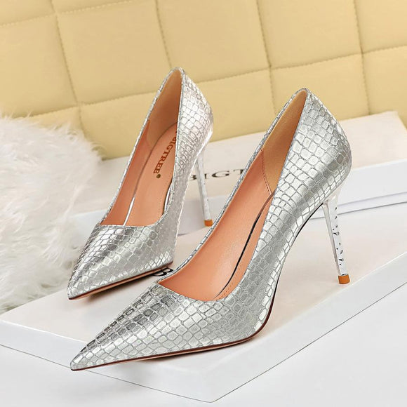 Fashion Womens Sequin Fabric Snakeskin Pointed Toe Stiletto Heel Bridal Pumps