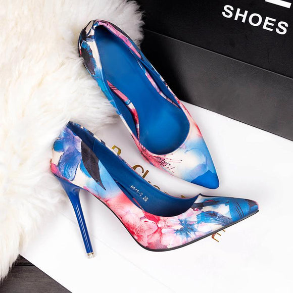 New Women's Tie Dye Colorful Flower Pointed Toe Stiletto Heel