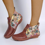 Fashion Colorful Flower Slip-On Round Toe Ankle Boots With Elastic Band