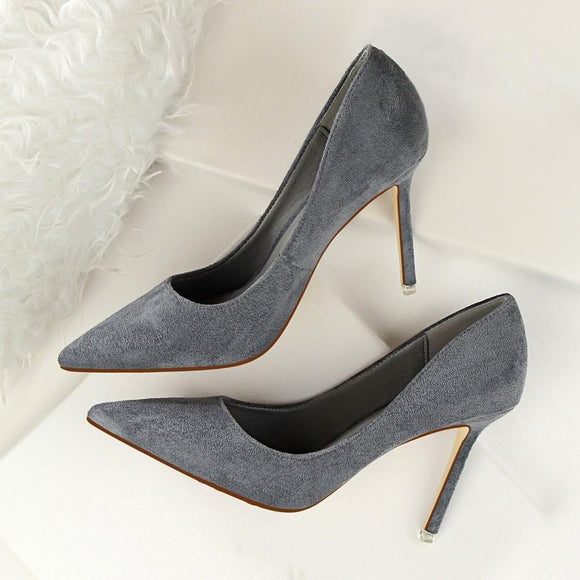 Fashion Suede Pointed Toe Stiletto Heel Office Lady Shoes