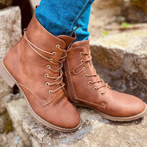 Fashion Cool Girl Zipper Martin Boots Lace-up Mid Calf Boots