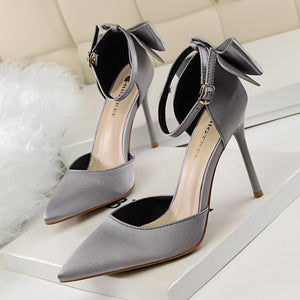 Satin Pointed Toe Stiletto Heel with Bowknot Bridal Shoes