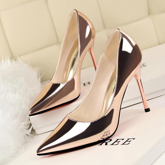 Fashion Solid Color Pointed Toe Stiletto Heel Office Shoes