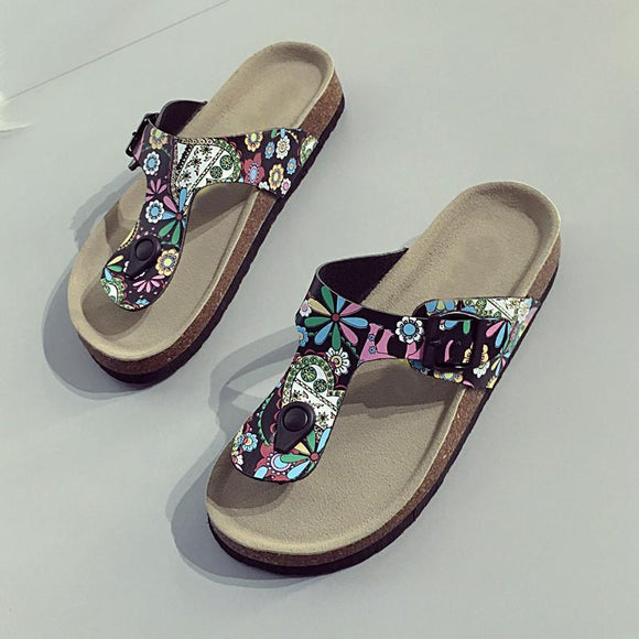Flower Printed Beach Flip Flops Slippers