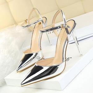 Women's Patent Leather Stiletto Heel Closed Toe Pumps with Buckle