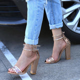 Crystal Chunky Heels Buckle Closure Heeled Sandals