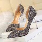 Sequined Pointed Toe Stiletto Heel Womens Bridal Shoes