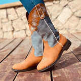 Fashion Flower Embroidered Round Toe Flat Heel Mid Calf Boots