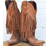 Fashion Women's Tassels Chunky Heel Knee High Boots Retro Riding Boot