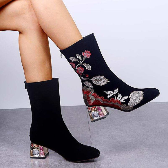 Fashion Ethnic Embroideried Crystal Chunky Heel Mid Calf Boots