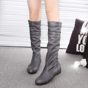 Fashion New Autumn Winter Women's Crumpled Slip-On Knee High Boots