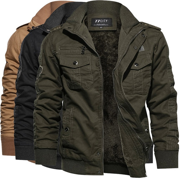 Plus fleece jackets add cashmere warm jacket men's outdoor casual zipper jacket men's army jacket. 3 colors