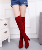 Fashion New Women's Chunky Heel Slip-On Over The Knee Boots