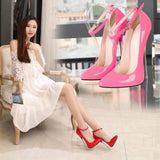 Fashion Womens Plus Size Pointed Toe Ankle Buckle Metal Stiletto Heels Bridal Shoes