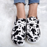 Cow Print Lace Up Flat Loafers