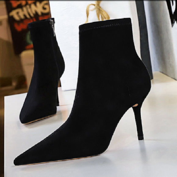 Fashion Suede Pointed Toe Stiletto Heel Mid Calf Boots with Zipper