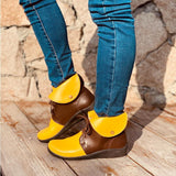 Fashion Lace Up Ankle Boots Round Toe Wedge Heel Martin boots