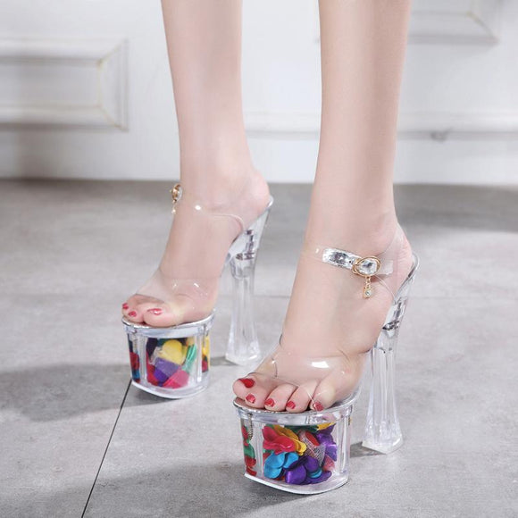 Women's Ankle Strap Peep Toe Transparent Platform Stiletto Party Dress Sandals