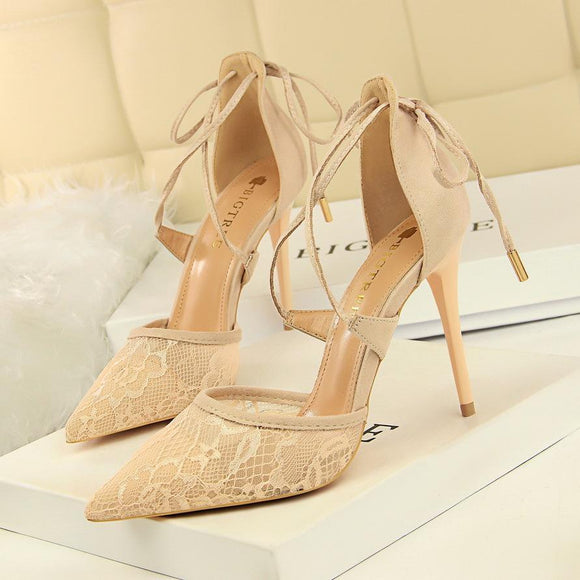 Lace Cross-strap Hollowed-out Heeled Sandals