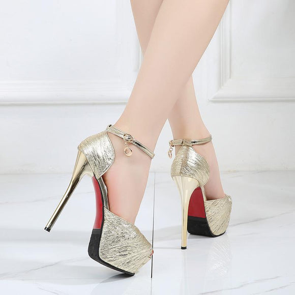 Women's Solid Peep Toe Hidden Platform Stiletto Heels Buckle Dress Party Shoes