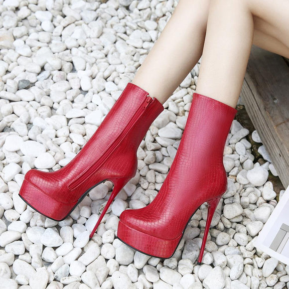 Fashion Round Toe Stiletto Heel Platform Zipper Closure Mid Calf Boots For Women