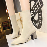 Fashion Womens Suede Stretch Chunky Heel Pointed Toe Mid Calf Boots