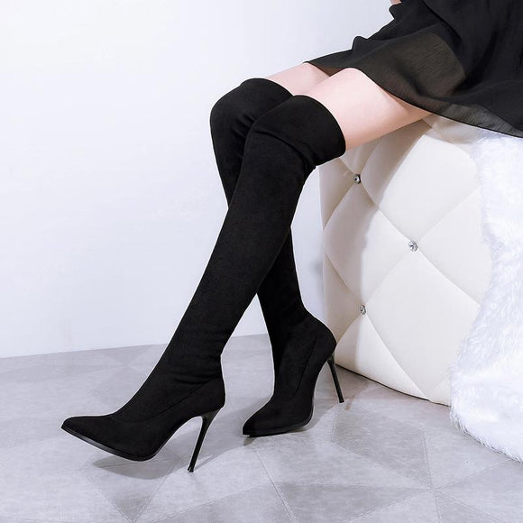Fashion New Slip-On Pointed Toe Chunky Heel Over The Knee For Women