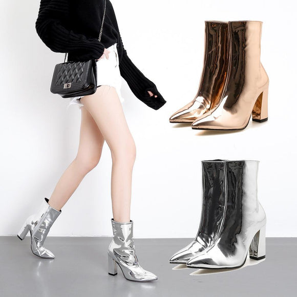 Fashion Glossy Patent Leather Pointed Toe Chunky High Heel Mid Calf Boots Martin Boots