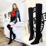 Fashion Womens Woolen Yarn Pointed Toe Metal Chunky Heel Over The Knee Boots