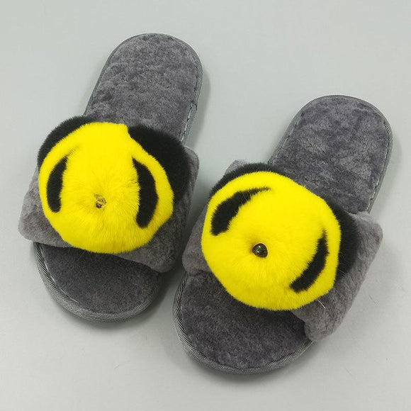 New Women's Pure Sheep Wool Cute Panda Open Toe House Slippers Fluffy Slide Anti-Skid Sole
