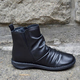 Fashion New  Crumpled Side Zipper Ankle Boots For Women With Elastic Band