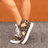 New Leopard Print Lace Up Low Top Slip-On Canvas Shoes