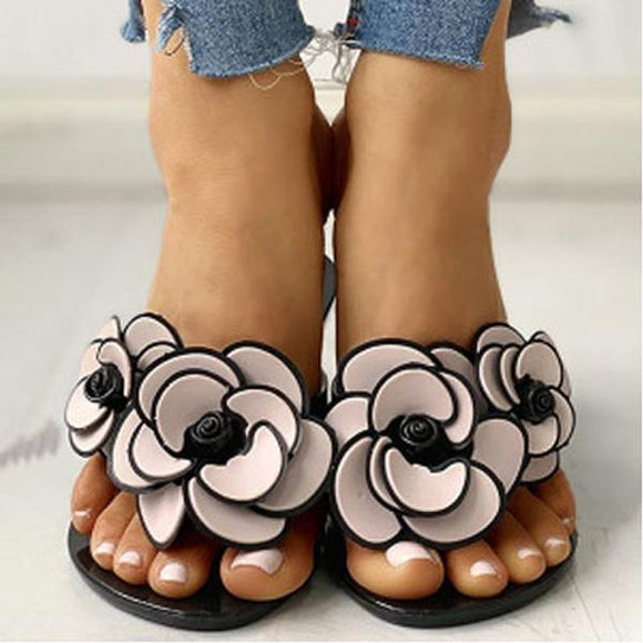 Camellia Round-toe Slip-on Thong Sandals Slides Flip Flops