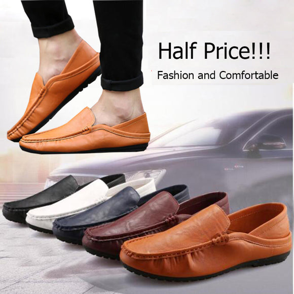 50% OFF!!! Fashion Men Genuine Leather Peas Shoes Trend British Casual Shoes