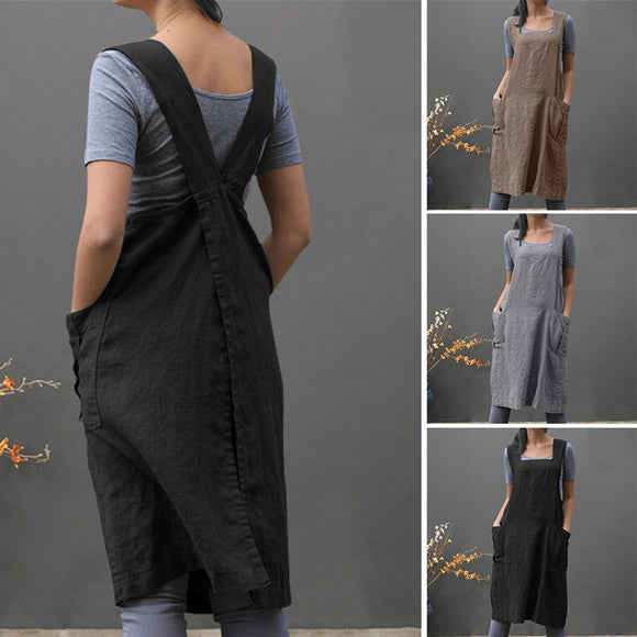 Women Side Pockets Vintage Apron Dress[BUY 2 FREE SHIPPING!!]