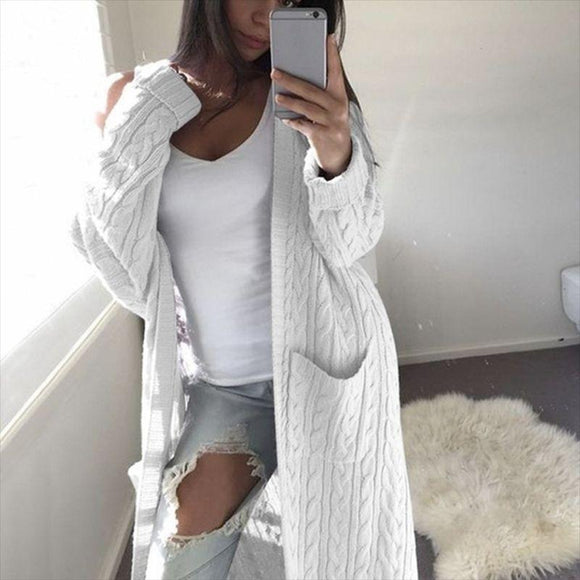 Oversized Boho French Braid Braided Knit Long Cardigan Sweaters