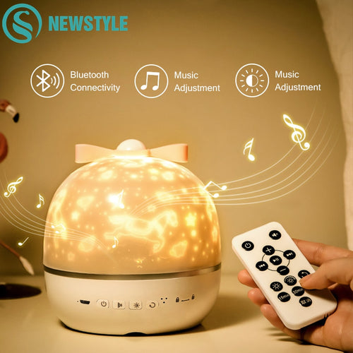 360 Rotation LED Starry Sky Projector with Blutooth Speaker - Multifunctional