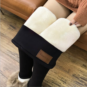 Winter Super-Thick High Stretch Lamb Cashmere Leggings High Waist Skinny Trousers