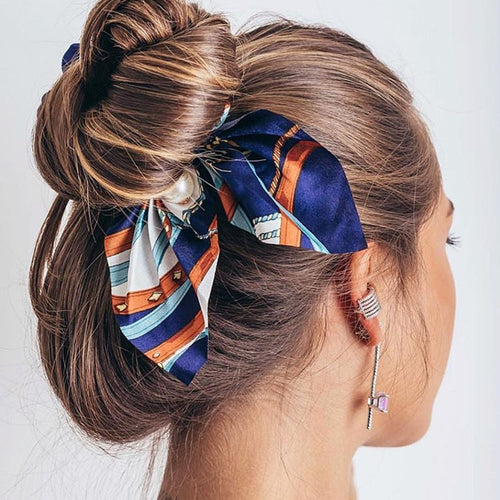 2020 New Chiffon Bowknot Silk Hair Scrunchies Women Pearl Ponytail Holder