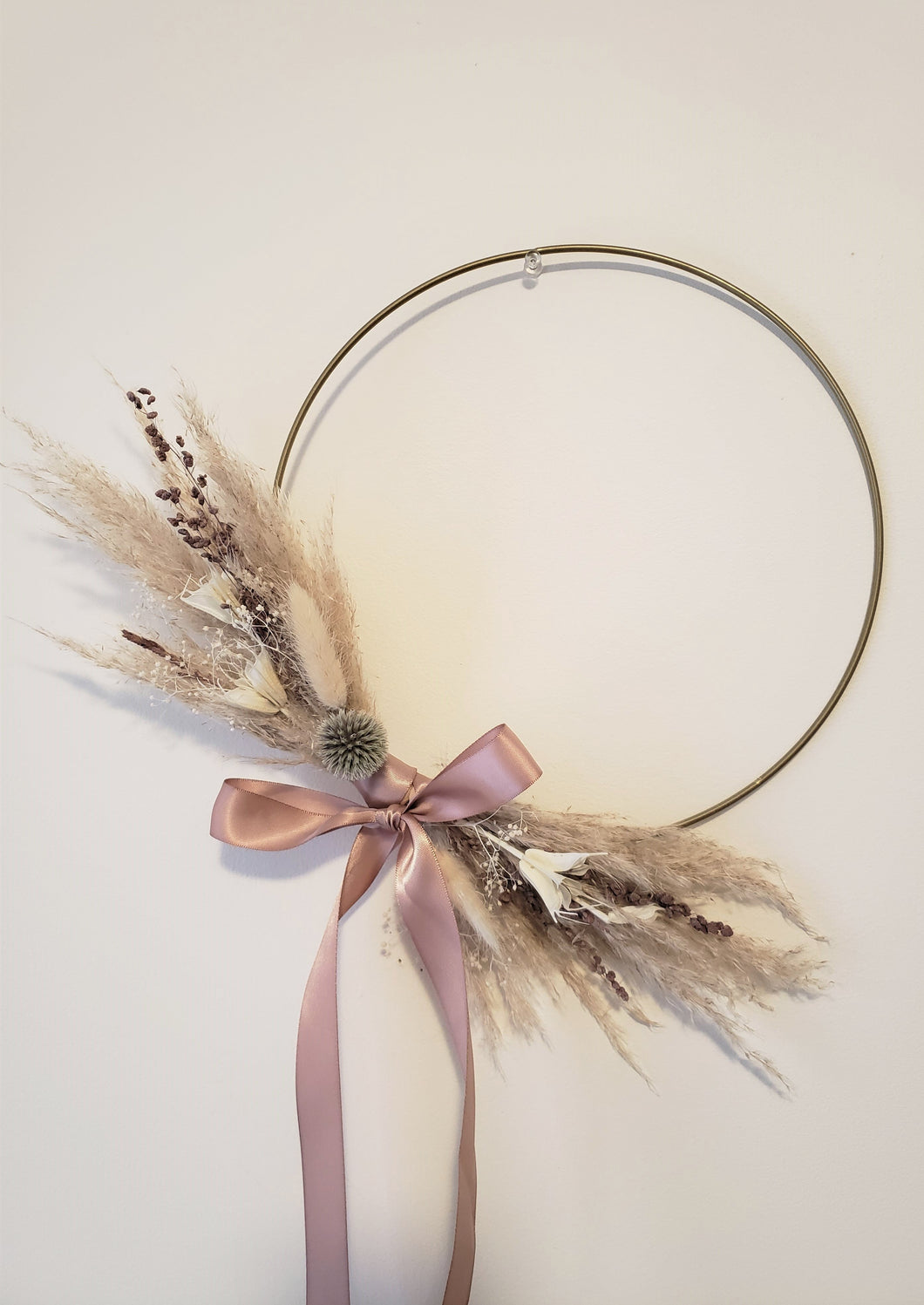 Pampas grass gold hoop wreath