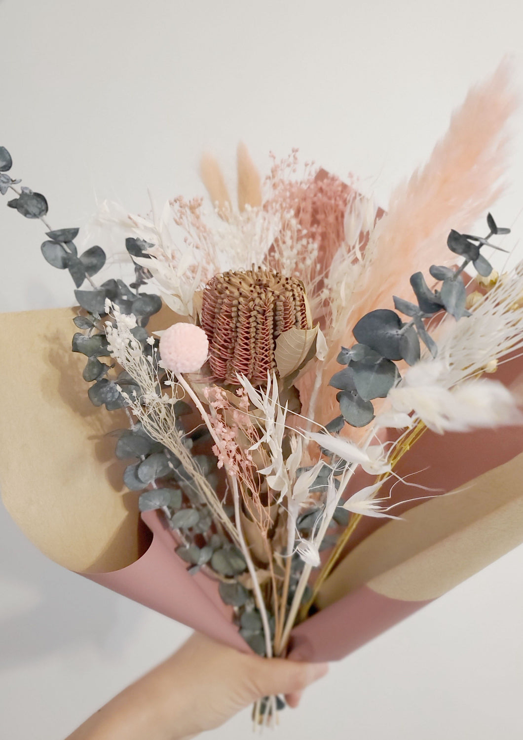 Banksia and mini pampas grass dried flower bouquet