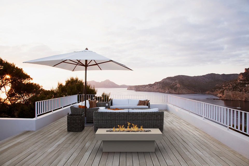 Terrazza Concrete Firepit Table in outdoor deck