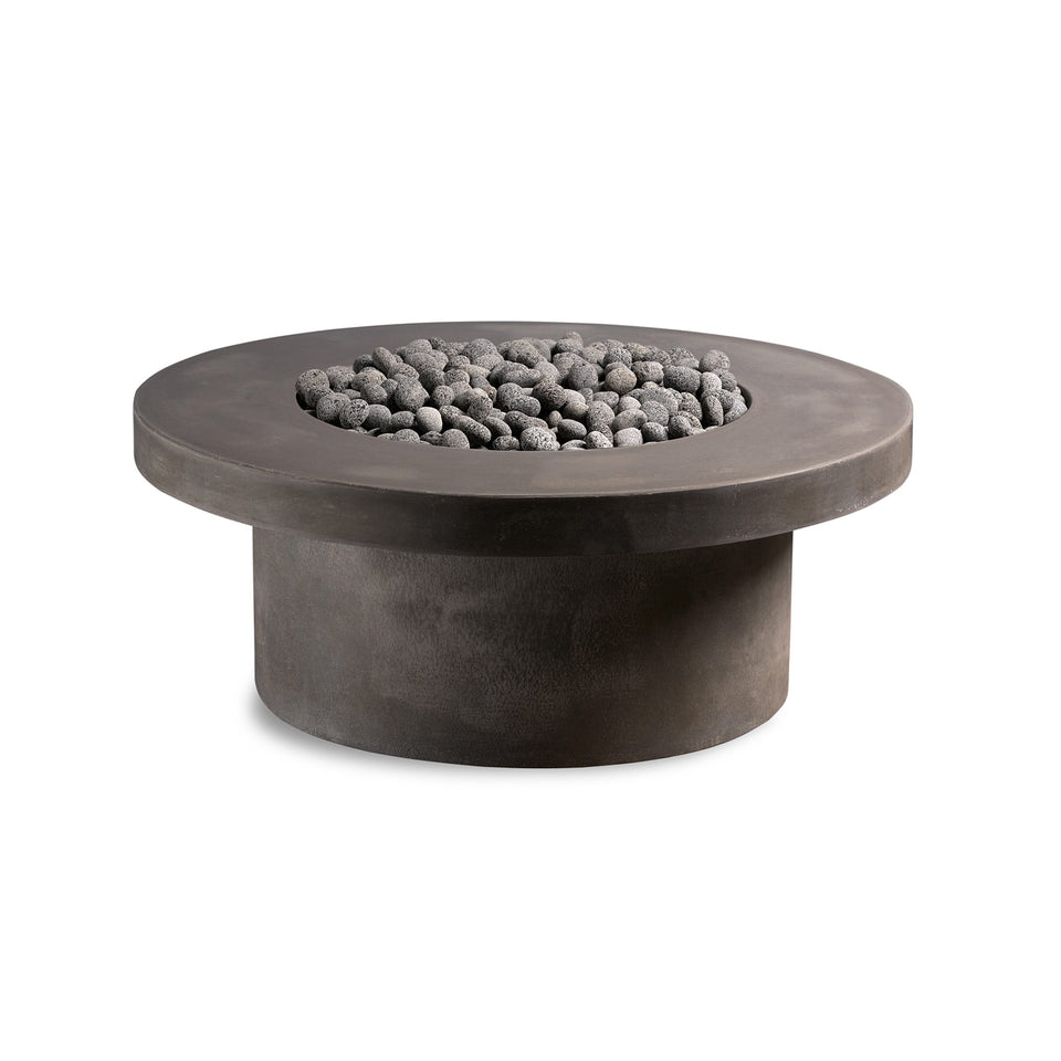 Circular Concrete Firepit - Pewter Rolled Lava Rock