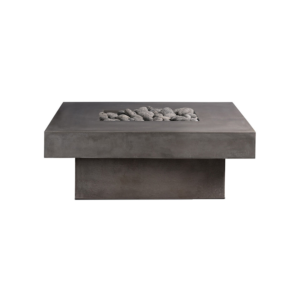 Square Concrete Firepit - Pewter Rolled Lava Rock