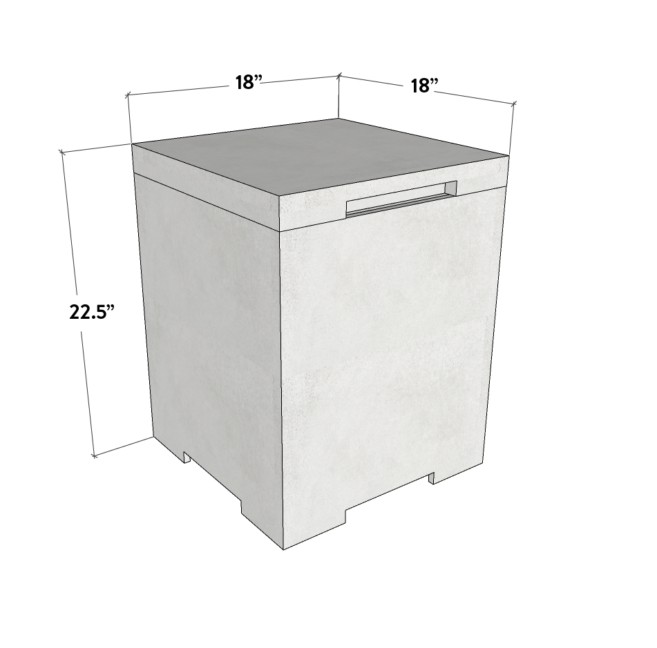 Concrete Propane Tank Enclosure - Square