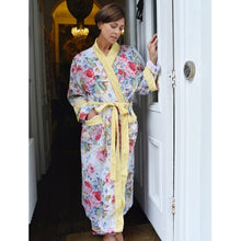 Load image into Gallery viewer, Floral Dressing Gown With Lemon Pom Pom Trims